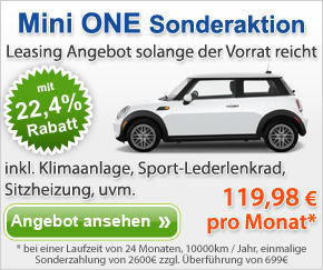 mini one leasing angebot ab 120 euro pro monat den kleinwagen fahren. Black Bedroom Furniture Sets. Home Design Ideas