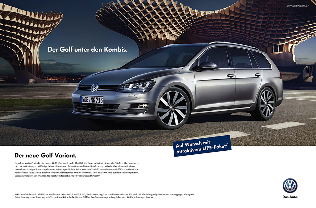 vw golf 7 variant neue kampagne f r den kombi. Black Bedroom Furniture Sets. Home Design Ideas