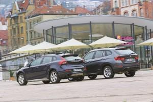 bmw x1 volvo v40 cross country test 2014