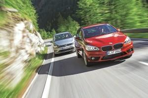 vw golf sportsvan bmw 2er active tourer test vorne