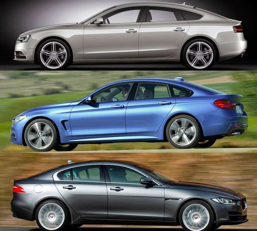 bmw 4er gran coupé vs. jaguar xe vs. audi a5 sportback test: vier