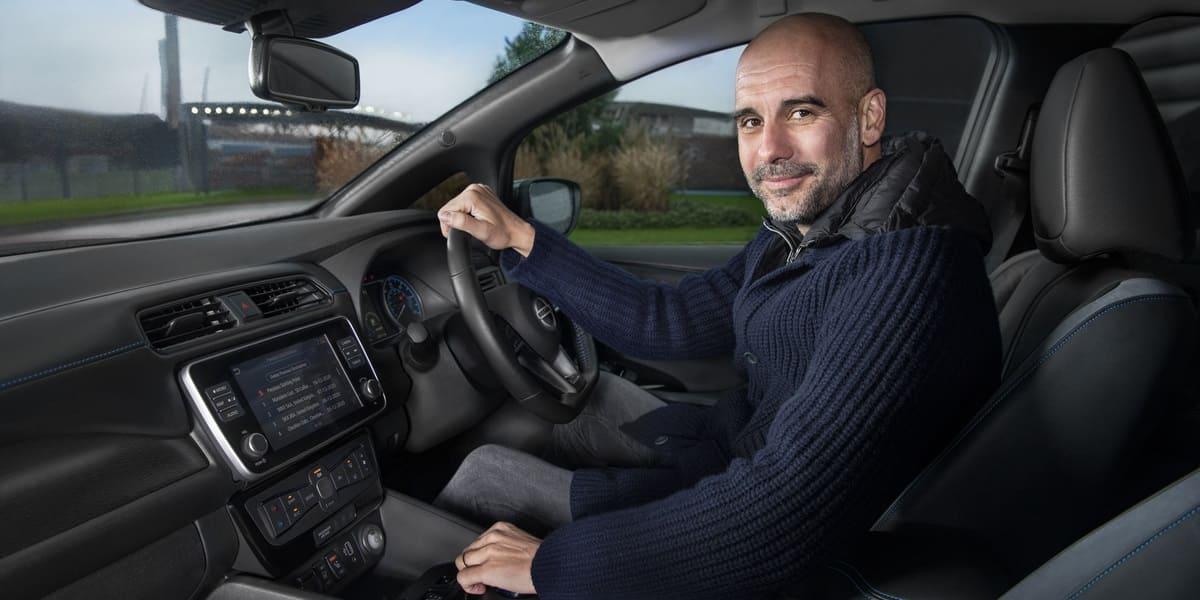Pep unter Strom: Guardiola steht auf den Nissan Leaf